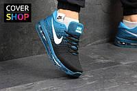 Кроссовки мужские Nike Flyknit Air Max, черно-голубые, материал - текстиль, подошва - пенка