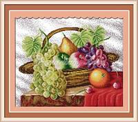 Набор для вышивания крестиком с печатью на ткани Корзина с фруктами 11ст