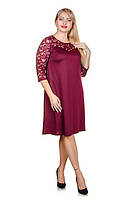 Вечернее платье с гипюром размер плюс Божена марсала (52-62)