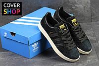 Мужские кроссовки adidas campus, черные, материал - замша, подошва - резина