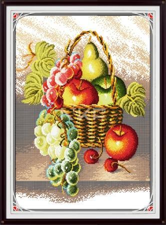 Набор для вышивания крестиком с печатью на ткани Корзина с фруктами J005/2 канва 11СТ