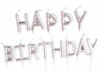 "Набор свечей в торт "" Happy birthday"", серебро"