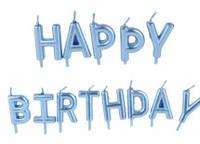 """Набор свечей в торт """" Happy birthday"""", голубой металлизированные"""