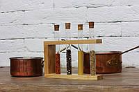 Деревянная подставка с пробирками для специй ( 4шт ), фото 1