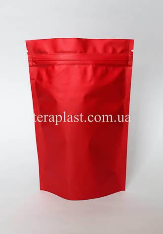 Дой-Пак 150г красный матовый 130х200 с зип замком, фото 2