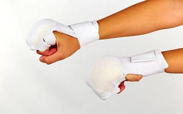 Накладки (перчатки) для каратэ ( р-р M-L, белый, манжет на резинке)