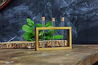 Деревянная подставка с пробирками для специй ( 3 пробирки)