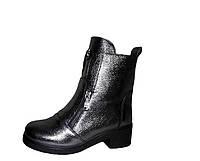 Женские кожаные ботинки на плоской подошве