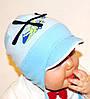 ОПТ Хлопковая шапочка детская для мальчика с завязками Вертолет - М1703