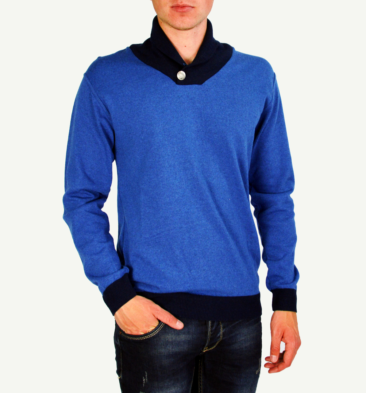 Синий мужской теплый свитер GLANCARLO с горлом