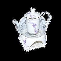 """Заварочный чайник стеклянный с подогревом 600 мл """"Тень"""" ( заварник стеклянный )"""