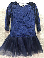 Модное детское велюровое платье с фатиновой юбкой, 122-152 см. Подростковое нарядное платье для девочки