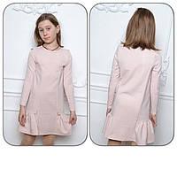 Подростковое платье для девочки, 134 - 176 см. Детское платье с заниженной талией, пудра.
