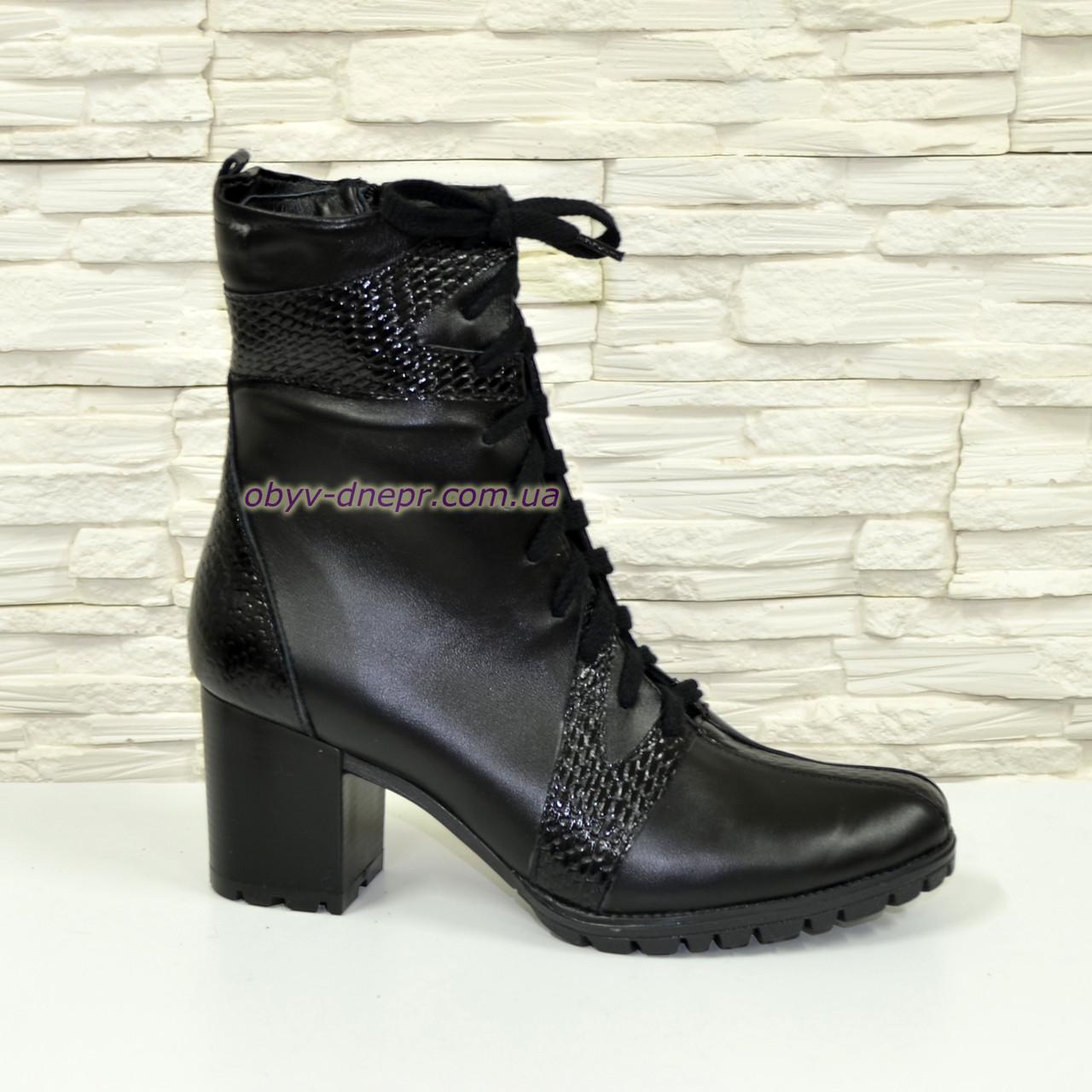 """Ботинки женские зимние на устойчивом каблуке, натуральная кожа и кожа """"питон""""."""