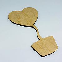 Деревянные заготовки из фанеры. Вазон Сердце. 135х75мм