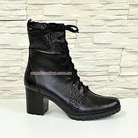 Ботинки кожаные зимние на устойчивом каблуке, фото 1