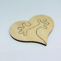 Деревянные заготовки из фанеры. Сердце,пазл. 8х6,5см