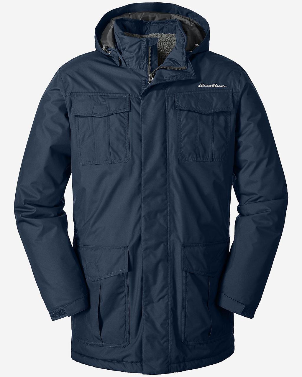 Мужская парка Eddie Bauer Mens Rainfoil Fleece-Lined Parka BLUE