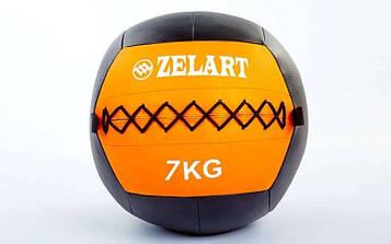 М'яч медичний (волбол) WALL BALL 7кг (PU, наповнювач-метал. гранули, d-33см, оранжевий)