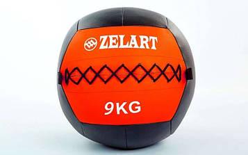 М'яч медичний (волбол) WALL BALL 9кг (PU, наповнювач-метал. гранули, d-33см, червоний)