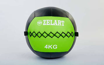 М'яч медичний (волбол) WALL BALL 4кг (PU, наповнювач-метал. гранули, d-33см, зелений)