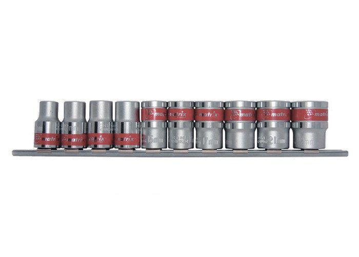 """Набор торцевых головок 1/4"""", 6-ти гранные, CrV, 10 шт., 4-13 мм, MTX (135599)"""