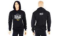 Толстовка спортивная с капюшоном ELAST (хлопок, р-р M-XL, черный)