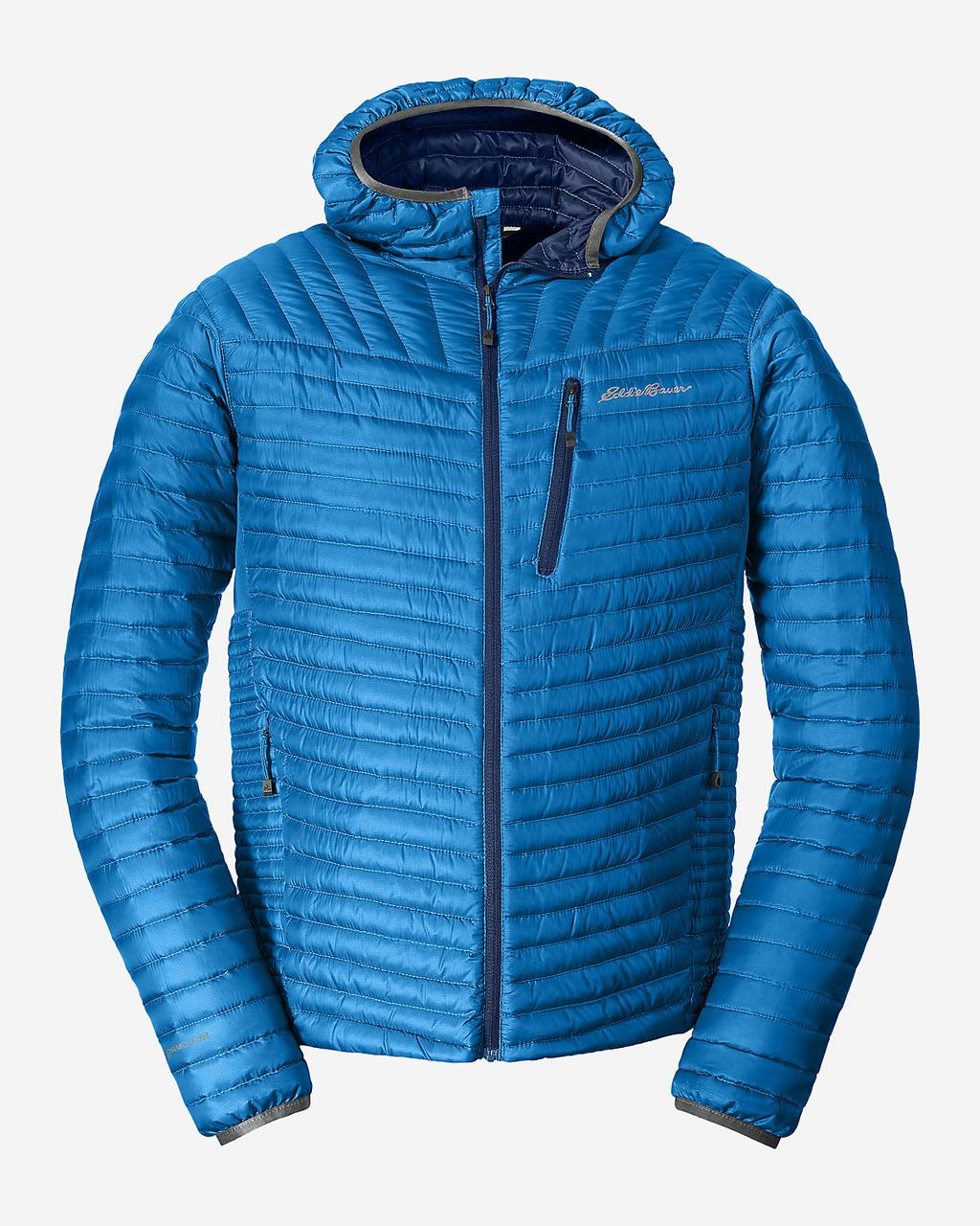 Куртка Eddie Bauer Mens MicroTherm StormDown Hooded LONG ACC BLUE