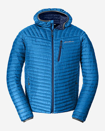 Куртка Eddie Bauer Mens MicroTherm StormDown Hooded LONG ACC BLUE, фото 2