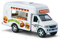 Kinsmart грузовик FAST FOOD TRUCK, метал.инерц.откр.дв