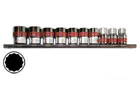 Набор торцевых головок, 1/2, двенадцатигранные,CrV, 10шт., 10-24 мм, MTX (135969)