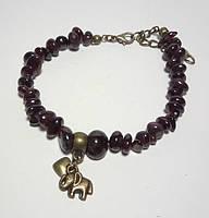 Браслет Гранат крошка, натуральный камень, цвет бордо и его оттенки, бронза
