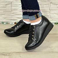 Туфли-кроссовки женские кожаные на утолщенной подошве