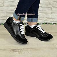 Туфли-кроссовки женские на утолщенной подошве, натуральная кожа и замша.
