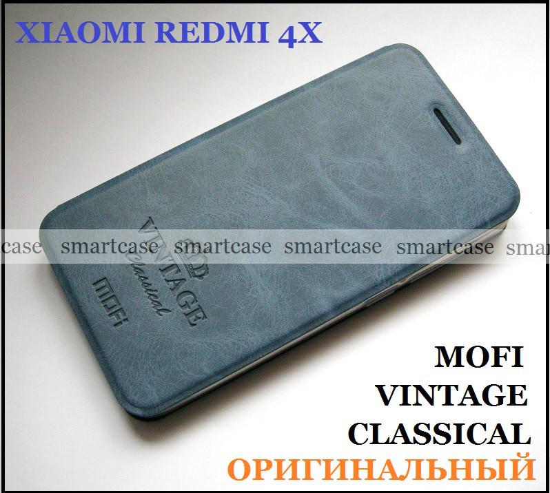 Синий современный чехол книжка Xiaomi Redmi 4X Mofi Vintage Classical эко кожаный dark blue