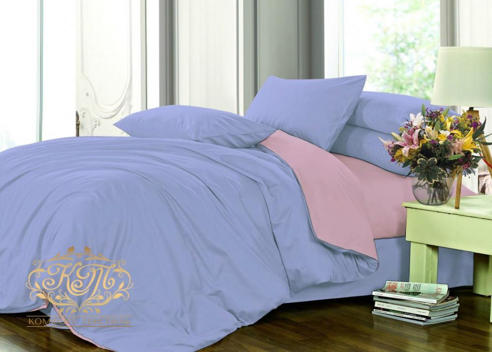 Комплект постельного белья  , Сатин однотонный  Микс №4032+№005 . Двуспальный на резин.