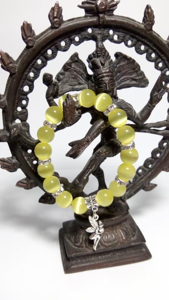 Браслет из Кошачьего глаза, натуральный камень, подвеска Фея, тм Satori \ Sb - 0125