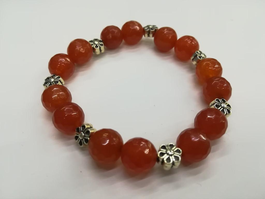 Браслет из натурального камня Сердолика, цвет бордо и его оттенки, тм Satori \ Sb - 0132