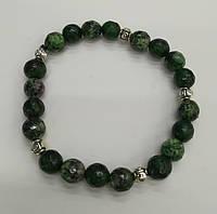Браслет Цоизит, натуральный камень, цвет зеленый и его оттенки