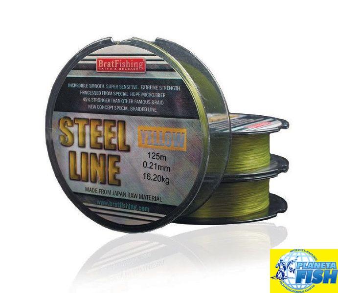 Шнур BratFishing Steel Line Yellow 125м