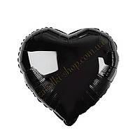 Фольгированные воздушные шары, форма:сердце, цвет: черный, 18 дюймов/45 см, 1 штука