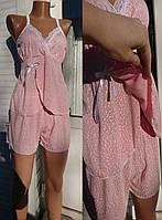 Пижама с шортами для кормящих и беременных мам с кружевом 40-54 р, пижамы для беременных оптом
