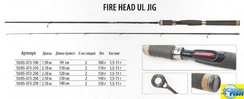 Спиннинг BratFishing Fire Head UL Jig 2.50m (1.5-11g)