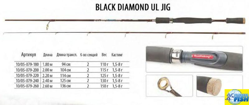 Спиннинг BratFishing Black Diamond UL Jig 1.80m (0.5-8g)