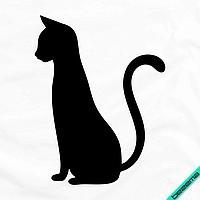 Термотрансфер на банданы Кошка контурная [7 размеров в ассортименте] (Тип материала Матовый)
