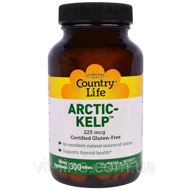 Country Life, Arctic-Kelp, арктичні бурі водорості, 225 мкг, 300 таблеток