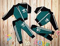 Детский модный зелено-черный спортивный костюм (86-92 см) 27П93