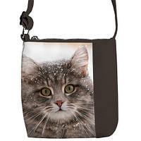 Серая сумка для девочки с принтом кошка