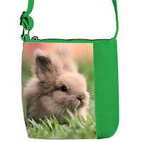 Зеленая сумка  с принтом Кролик