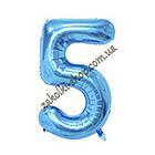 """Фольгированные воздушные шары, цифра """"5"""" пять, размер 40 дюймов/102 см, цвет: синий, можно надувать гелием, 1 , фото 2"""